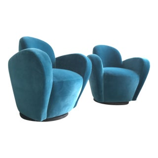 Vladamir Kagan Blue Velvet Wrap Around Swivel Chairs, a Pair