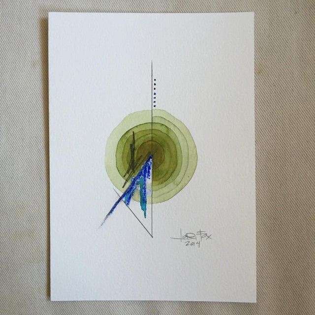 Green Single Totem Painting on Paper - Image 2 of 6