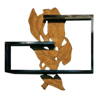 Mid-Century Wall Shelf with Hand-Carved Leaf