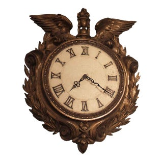 Early 1900s Bronze Plated Clock with Eagle Wings & Wreath Motif