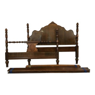Antique Mahogany Four-Poster Full-Sized Bed
