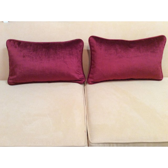Burgundy Velvet Pillows - A Pair - Image 3 of 9