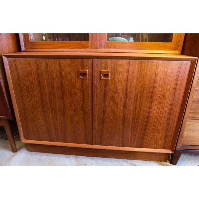 Image of 2-Piece Locking Teak Bookcase / Display Cabinet