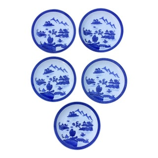 Chinese Pagoda Blue White Dinner Plates - Set of 5