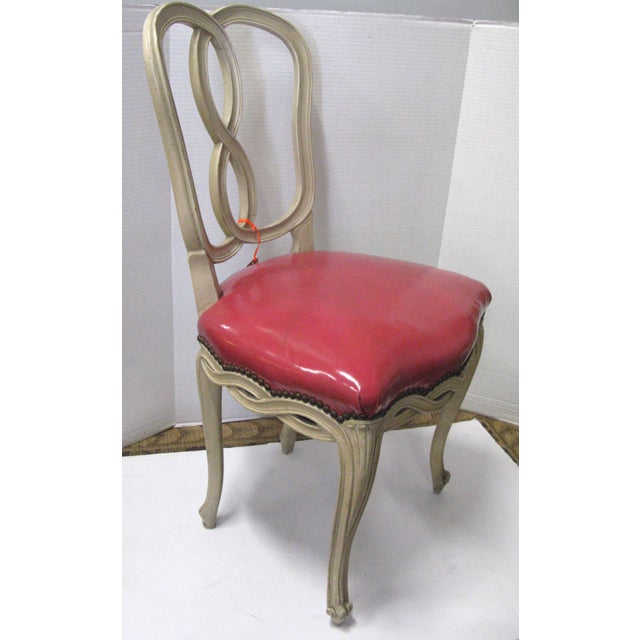 Italian Painted & Pink Leather Chairs - A Pair - Image 5 of 10