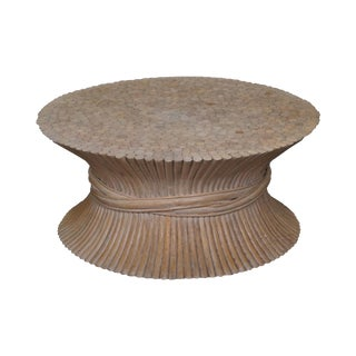 Wheat Sheaf & Rattan Coffee Table