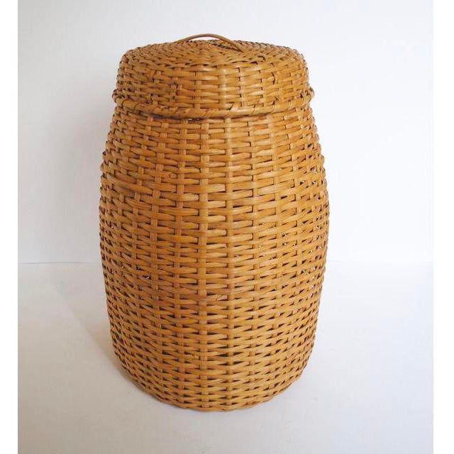 Vintage Rattan Standing Basket - Image 2 of 5