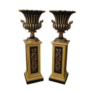 Italian Gilt Wood Regency Style Pedestals & Planters - A Pair
