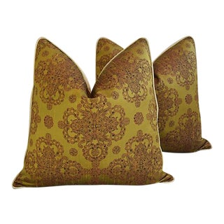 """25"""" Custom Tailored Cohama Hand-Printed Silk Feather/Down Pillows - a Pair"""