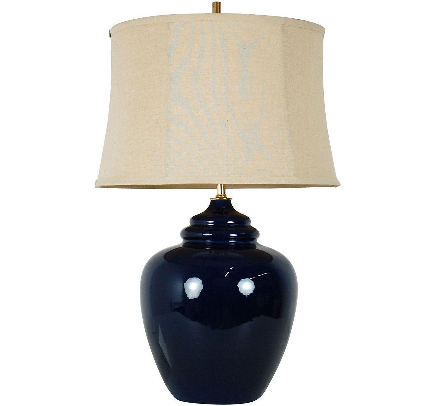 Large Vintage Navy Blue Ceramic Lamp Amp Shade Chairish
