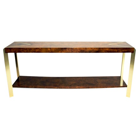 Burl Wood & Brass Console - Image 1 of 4