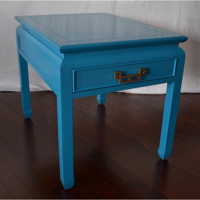 Bright Blue Vintage Chinoiserie Side Table - Image 3 of 4