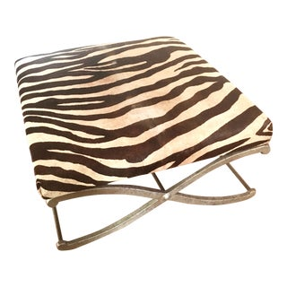 "Vintage Zebra Hide Metal ""X"" Leg Base Ottoman/Bench"
