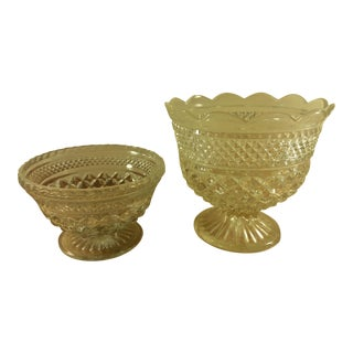 Anchor Hocking Wexford Pattern Footed Bowls - A Pair