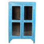 Sky Blue Glass Paneled Cabinet