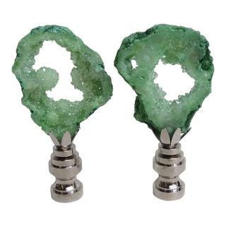 Light Green Geode Finials - A Pair