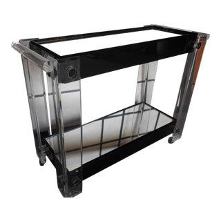 Mid-Century Modern Lucite & Mirror Bar Cart
