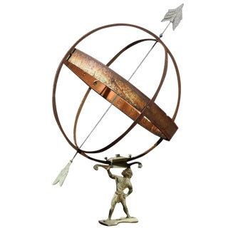 Swedish Copper Armillary Held by the Titan Atlas from the Early 20th Century