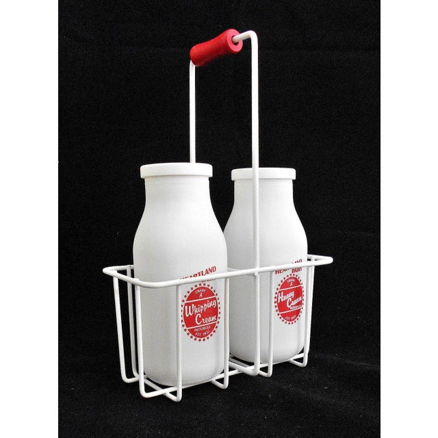 Retro White Glass Cream Bottles and Metal Carrier - Image 2 of 10