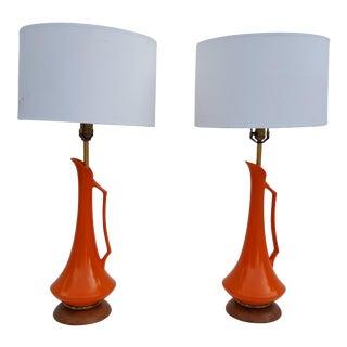 Vintage Orange Ceramic Table Lamps A Pair.