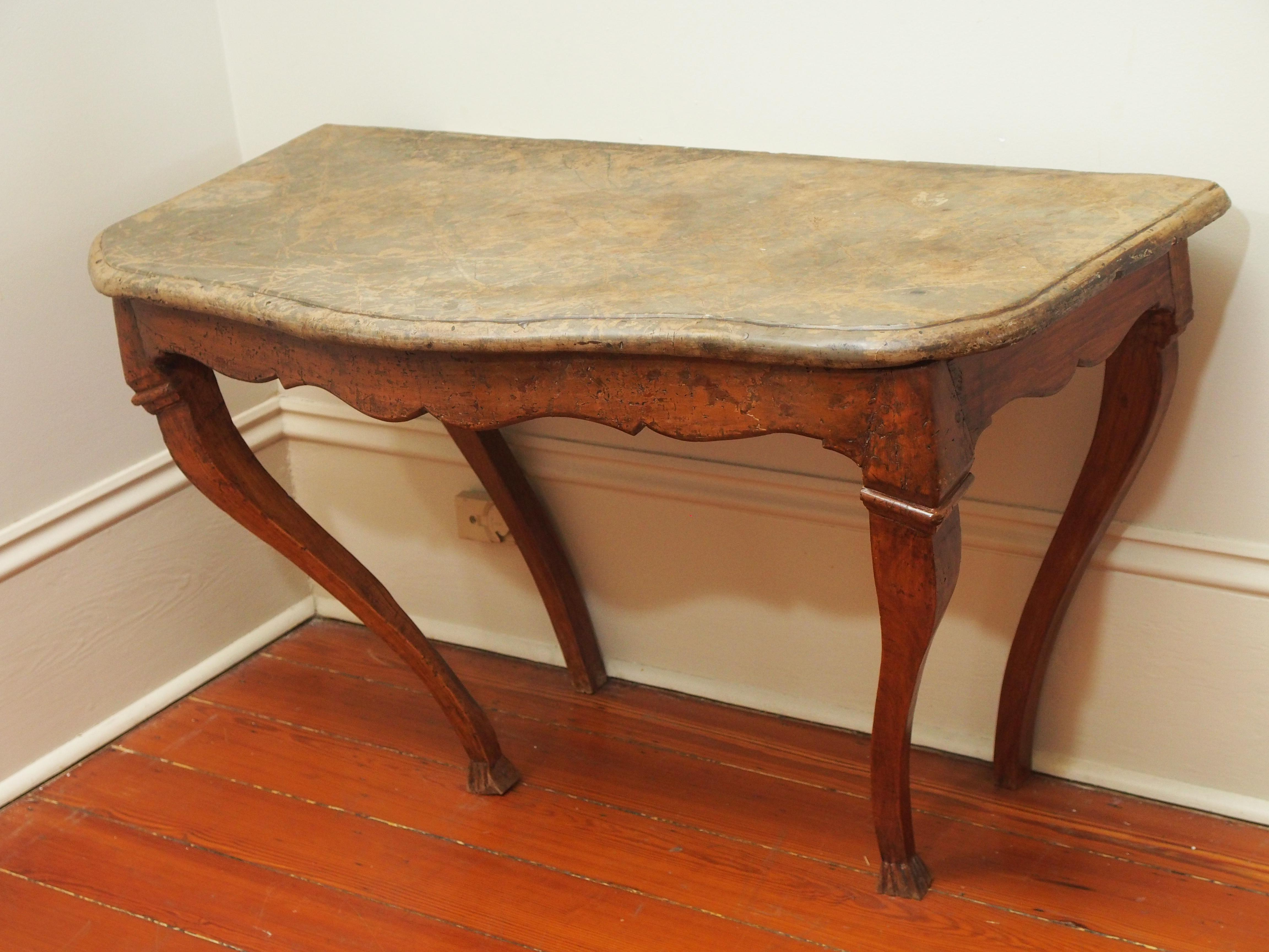 18th Century Console Table With Fossil Embedded Stone Top   Image 9 Of 9