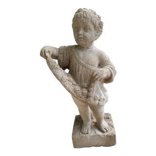 Vintage Stone Child Garden Statue