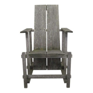 Four Rustic Modernist Armchairs in the Style of Gerrit Rietveld