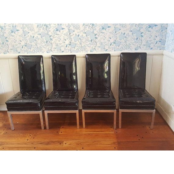 Mid-Century Modern Patent Leather Chairs - S/4 - Image 2 of 6