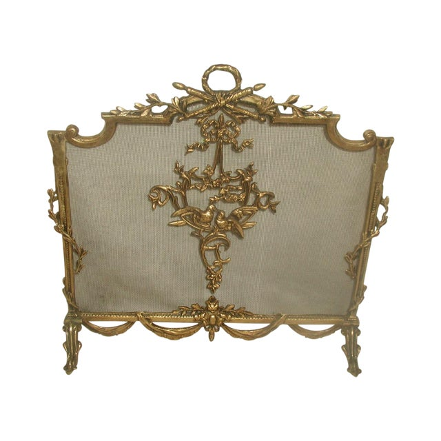 Image of Antique Early 1900s French Brass Fireplace Screen