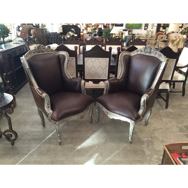 Image of Leather Wingback Chairs With Nail Heads - A Pair