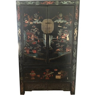 Antique Chinese Painted Black Armoire