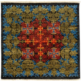 """New Arts & Crafts Hand Knotted Area Rug - 4'2"""" x 4'3"""""""