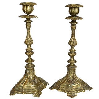 French Gilt Bronze Candlestick Holders - A Pair