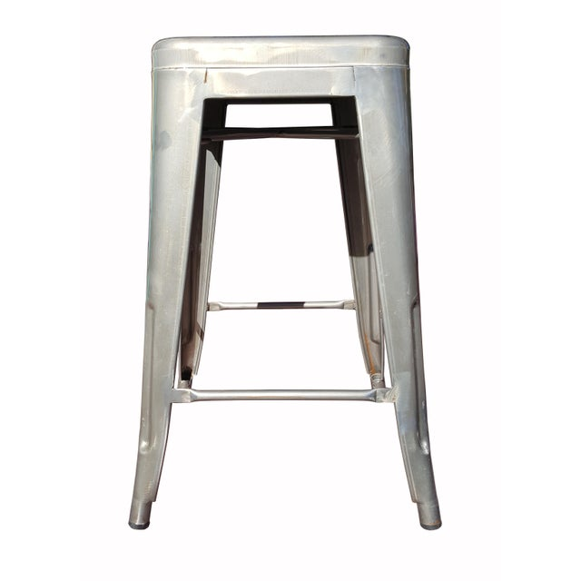 """Industrial Tolix """"Marais"""" Style Counter Bar Stools - A Pair - Image 3 of 6"""