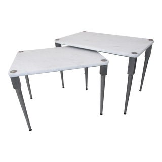 Polished Steel & Marble Nesting Tables - A Pair