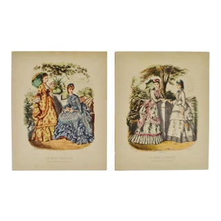 European Fashion Prints on Paper - a Pair