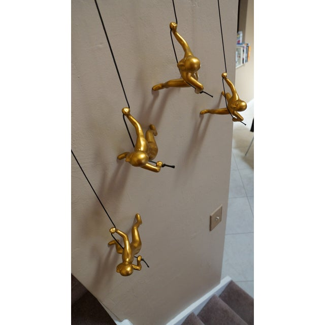 Gold Climbing Man Wall Art Pieces - Set of 4 - Image 4 of 5