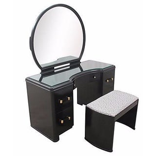 Black Hollywood Regency Vanity Table