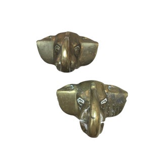 Cast Brass Elephant Fence Post Toppers - A Pair