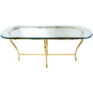 La Barge Style Glass Brass Console Table