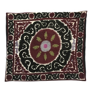 Oversized Vintage Suzani Silk Embroidered Floor or Pet Pillow