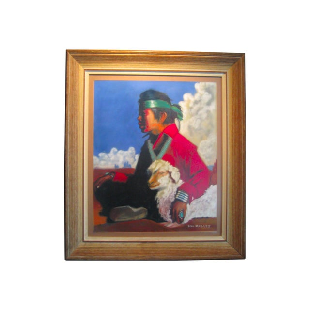 Vintage Framed Pastel - Young Navajo Boy with Lamb - Image 1 of 4