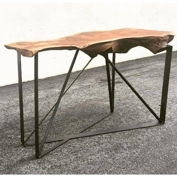 live edge redwood slab bar console table chairish. Black Bedroom Furniture Sets. Home Design Ideas