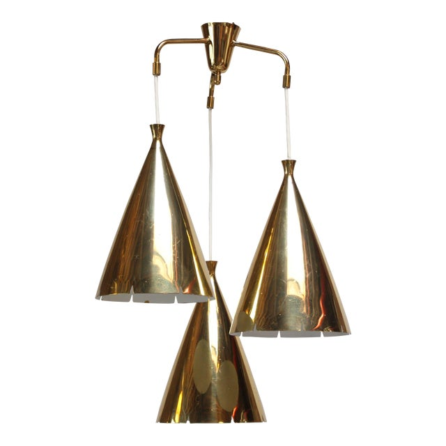 Mid-Century Three Pendant Solid Brass Chandelier after Paavo Tynell - Image 1 of 11