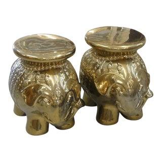 Gold Metallic Elephant Garden Seats - a Pair