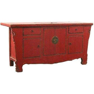 Antique Chinese Rustic Red Lacquer Sideboard