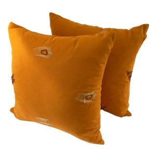 Modern Appliqué Orange Pillows- A Pair