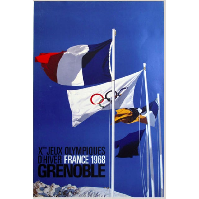Vintage Original 1968 Grenoble Olympic Poster - Image 2 of 2