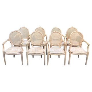 Faux Bois Rush Seat Dining Chairs - Set of 8