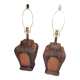 Woven Basket Lamps in Two Tones of Wicker - A Pair